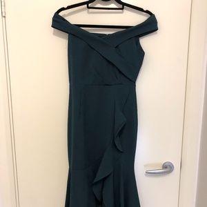 Off-shoulder Forest Green Ruffle Dress